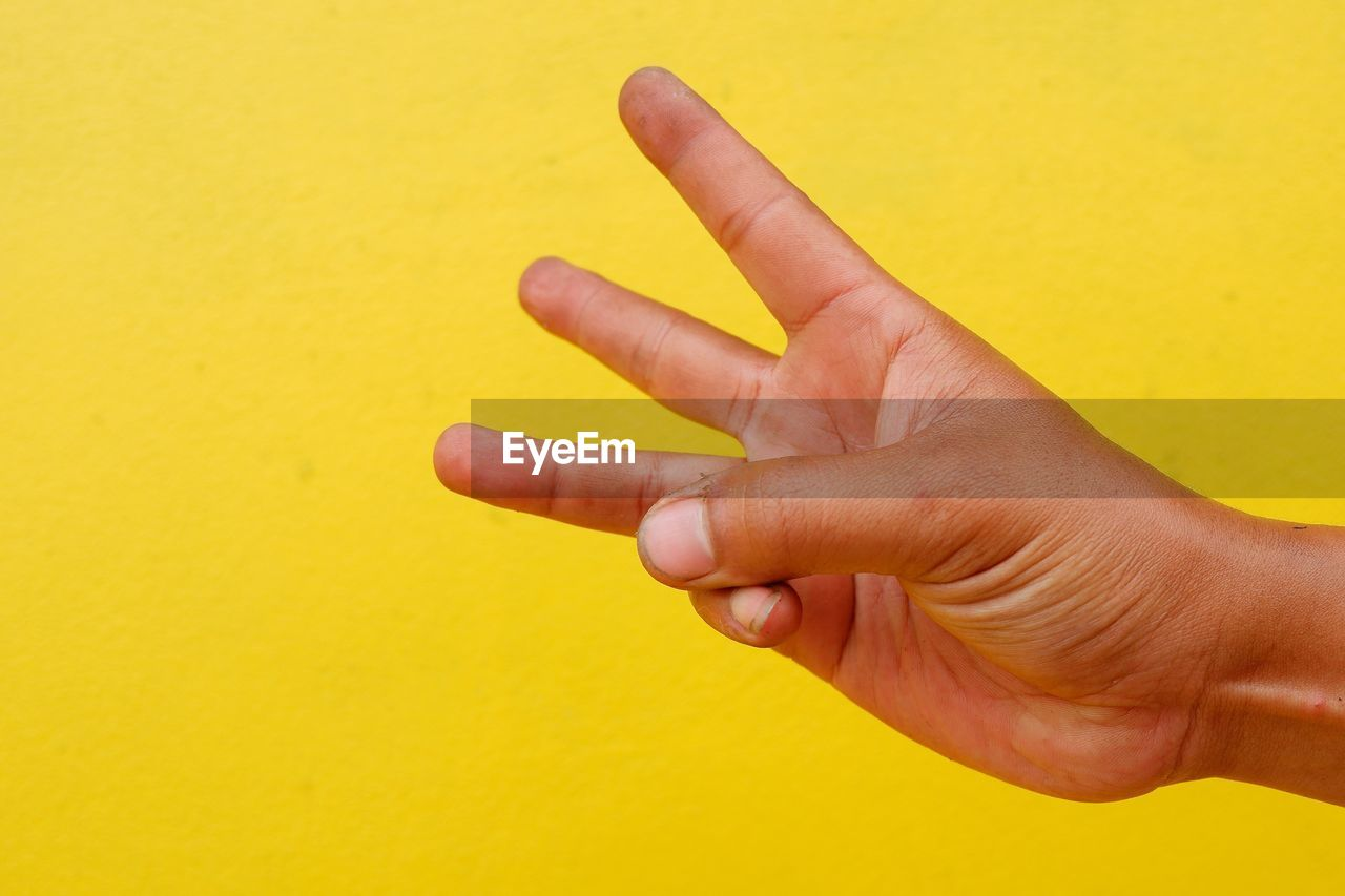 Cropped hand gesturing against yellow wall