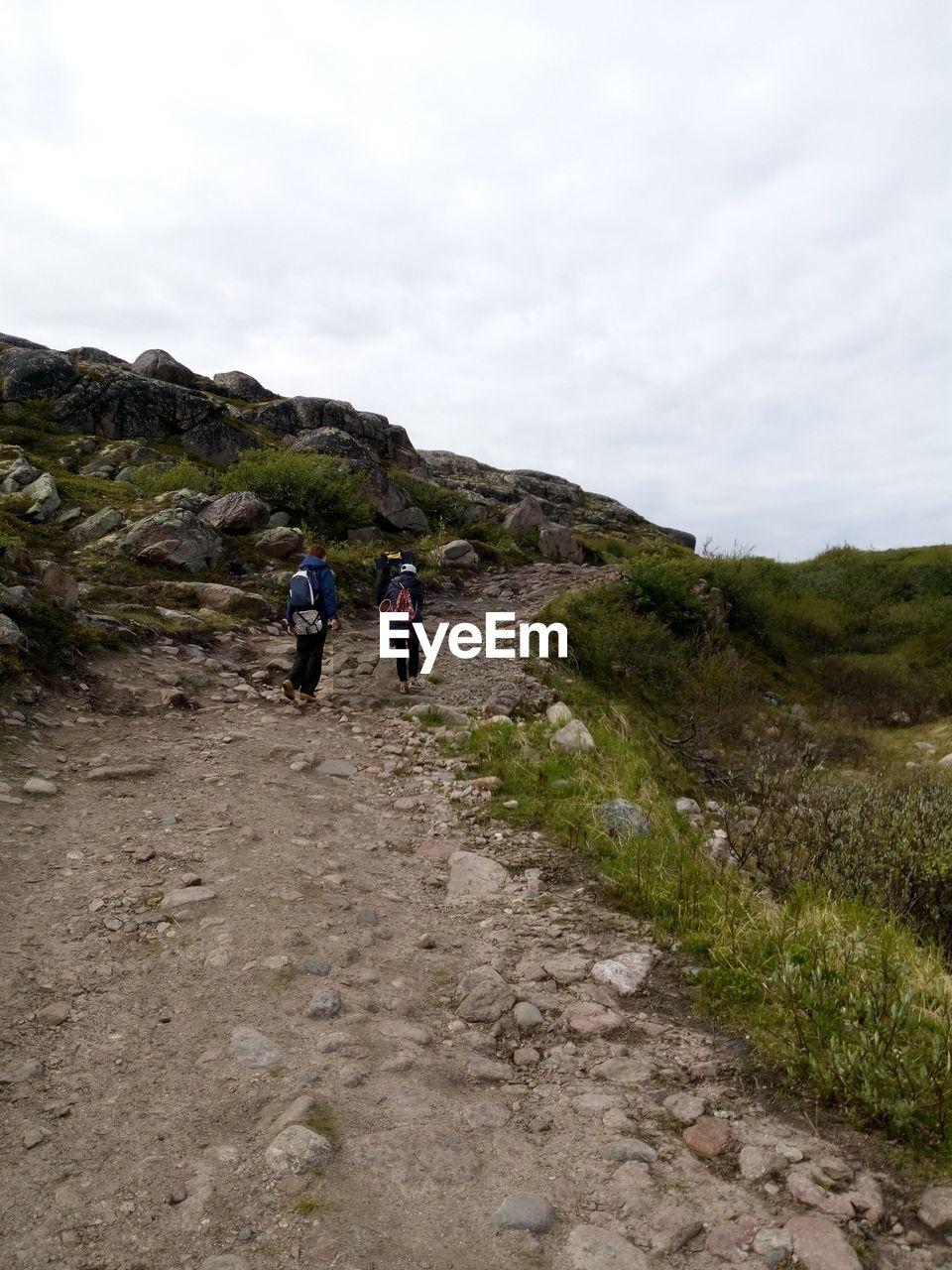 Rear View Of Friends Walking On Mountain Trail