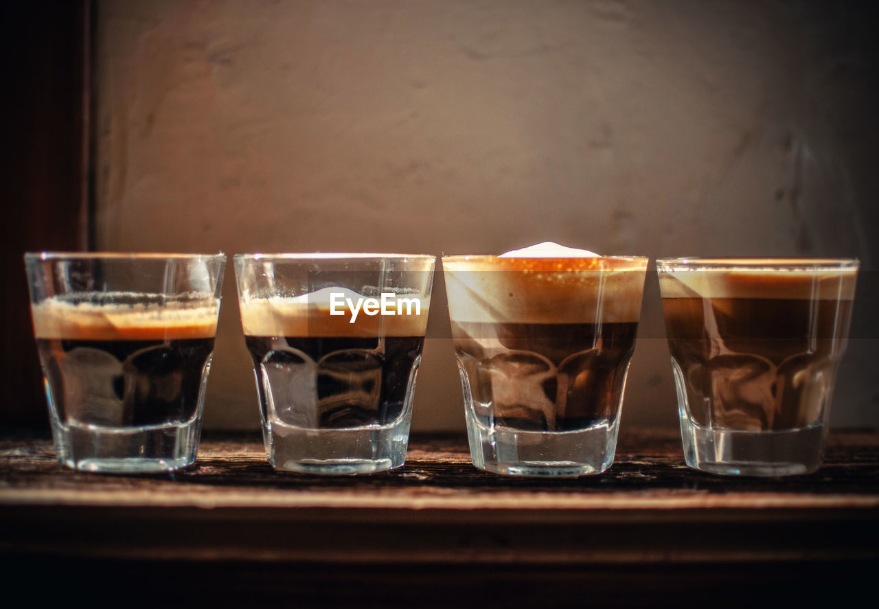 Coffee In Glasses On Table