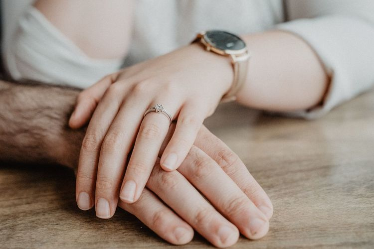 Love Human Hand Human Body Part Indoors  Close-up Women Table Lifestyles Day People Engagement Engagement Ring Two People CoupleeLovee This Is Family Moments Of Happiness