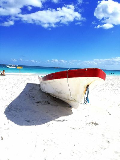 Tulum boat and dream beach Beach Beachphotography Whitesand Tulum Tulum , Rivera Maya. Boat Old Boat Blue Nature Naturephotography Shadows & Lights Shadow Ocean View Mexico Water Sea Beach Full Length Sand Men Summer Protection Blue Shore Jet Boat Sunshade Wake - Water Canopy Water Sport