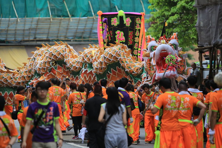 People on street during chinese dragon festival