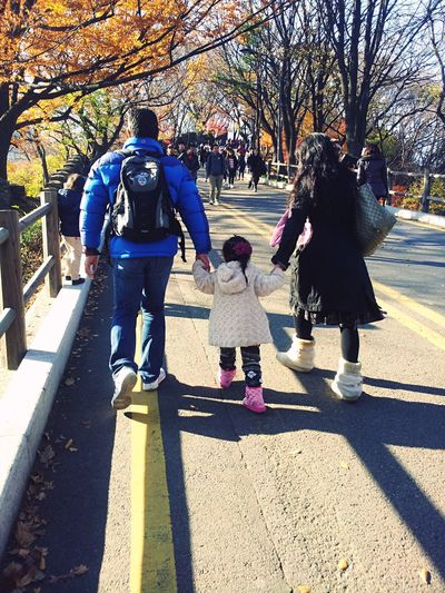 Family Daughter Kid Parents Parents And Children Hold Hands Together Travel Tourist Traveller Asian  Autumn Happy Family TakeCare  Worry Walking Together Father And Daughter Mother & Daughter Cute Quality Time People And Places