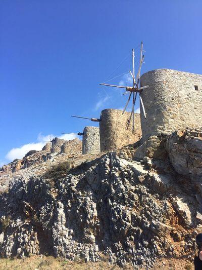 Crete Crete Greece Greece Windmill Windmills Holidays Sunshine Blue Sky Hills Hillside Beautiful Clear Sky Blue