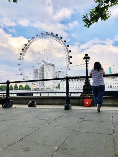 Enjoy everything around you Enjoying Life LondonEye Sky Cloud - Sky Real People Full Length Architecture Nature City Built Structure Day Standing Outdoors One Person