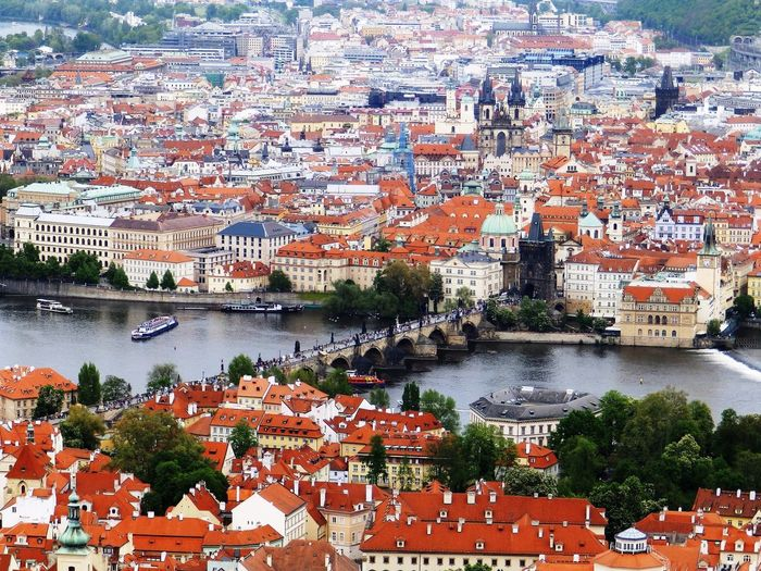 High angle view of charles bridge over river in city