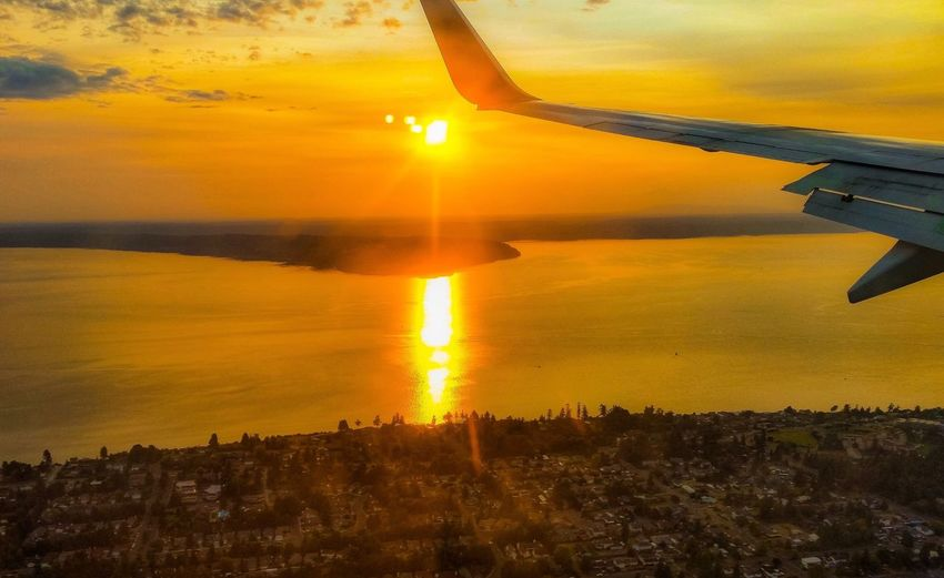 Scenic view of sunset seen from airplane