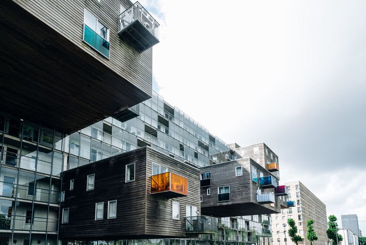 Modern residential building in Amsterdam Architecture Architecture Building Exterior Built Structure Cantilever City Day Housing Iconic Buildings Low Angle View MVRDV No People Outdoors Real Estate Residential  Residential Building Residential District Residential Structure Sky Windows