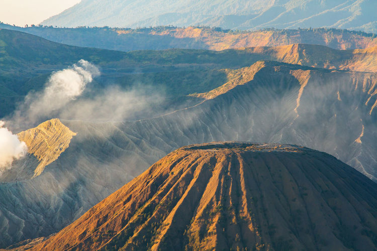 Sunrise at mount bromo volcano, the magnificent view national park, east java, indonesia.