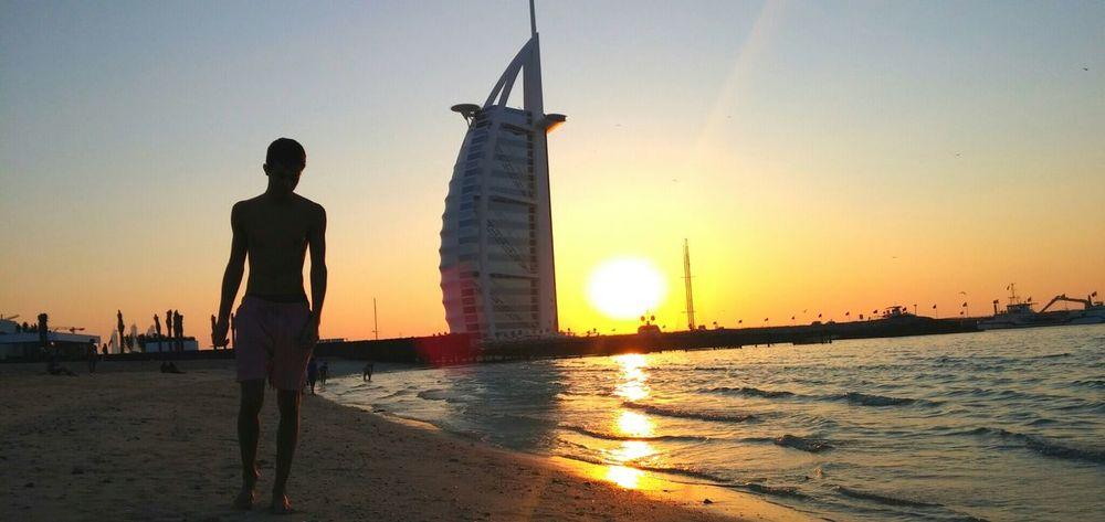 Enjoying Life Taking Photos Sunset Dubaibeach Dubai Burjalarab