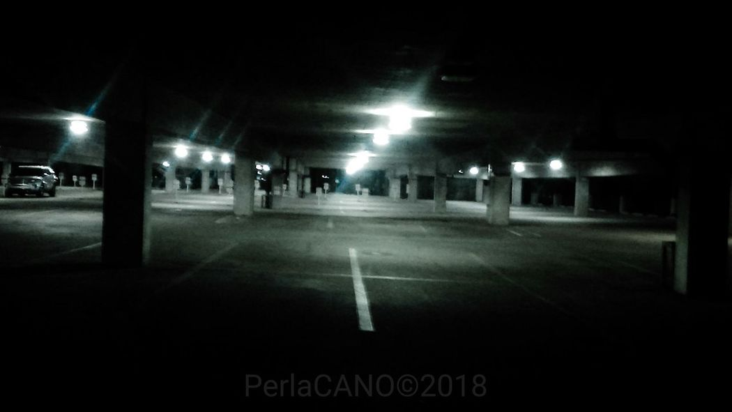 Midnightwalks Parkinggarage Latenight Dark Bymyself Night Parking Lot Illuminated City Life Outdoors