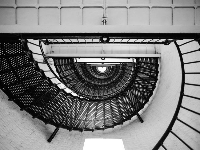 Architecture Built Structure Pattern Indoors  Design No People Geometric Shape Metal Steps And Staircases Spiral Staircase Spiral Staircase Lighthouse St. Augustine