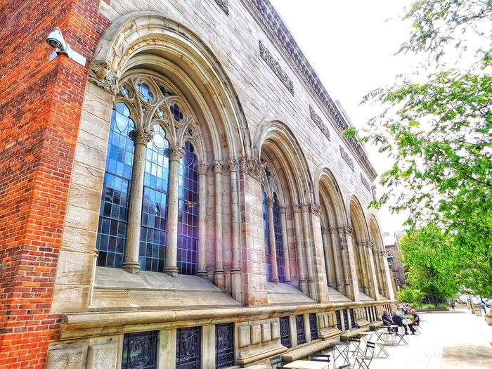 Out enjoying the weather... Connecticut New Haven Yale Architecture Built Structure Low Angle View Religion Belief Place Of Worship Day The Past History Building Exterior Building Window Spirituality No People Arch Sky Outdoors Ornate Architectural Column