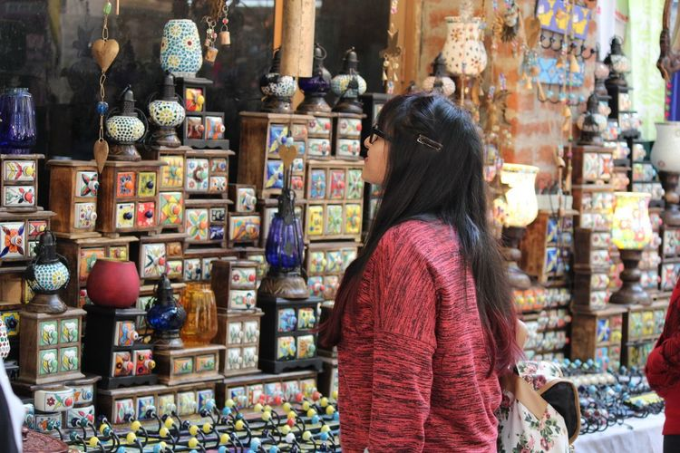 Rear View Person Standing Looking Variation Large Group Of Objects City One Young Woman Only Long Hair Group Of People Choice Casual Clothing Focus On Foreground Façade Retail  Multi Colored Tourism Love Shopping ♡ Colorful Delhi India Objects Outdoors City Life
