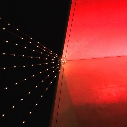 Lookingup Architecture Built Structure Illuminated No People Night Building Exterior Lighting Equipment Connection Outdoors Wall - Building Feature Copy Space Nature Building Low Angle View Railing Ceiling City Sky Red The Way Forward The Still Life Photographer - 2018 EyeEm Awards HUAWEI Photo Award: After Dark #urbanana: The Urban Playground