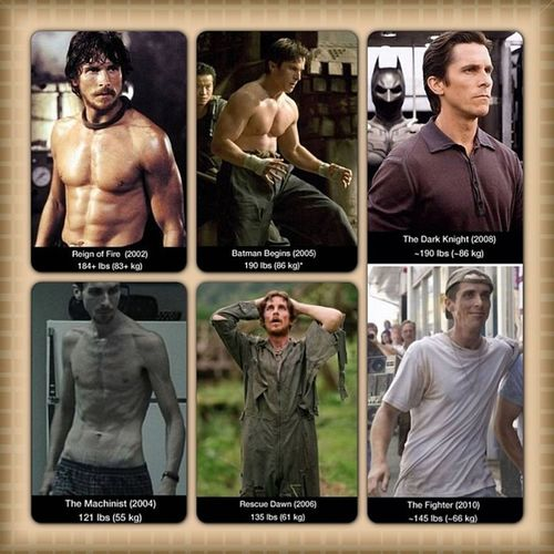 Christian Bale from 2002 to 2010, the extreme weight change. ChristianBale Extreme Weightchange