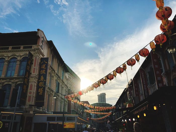 Chinatown glow ASIA Architecture Building Exterior Built Structure Sky Low Angle View Cloud - Sky Decoration City Building No People Outdoors