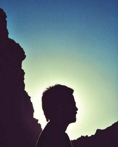 Back Lit Man Against Sky At Atacama Desert