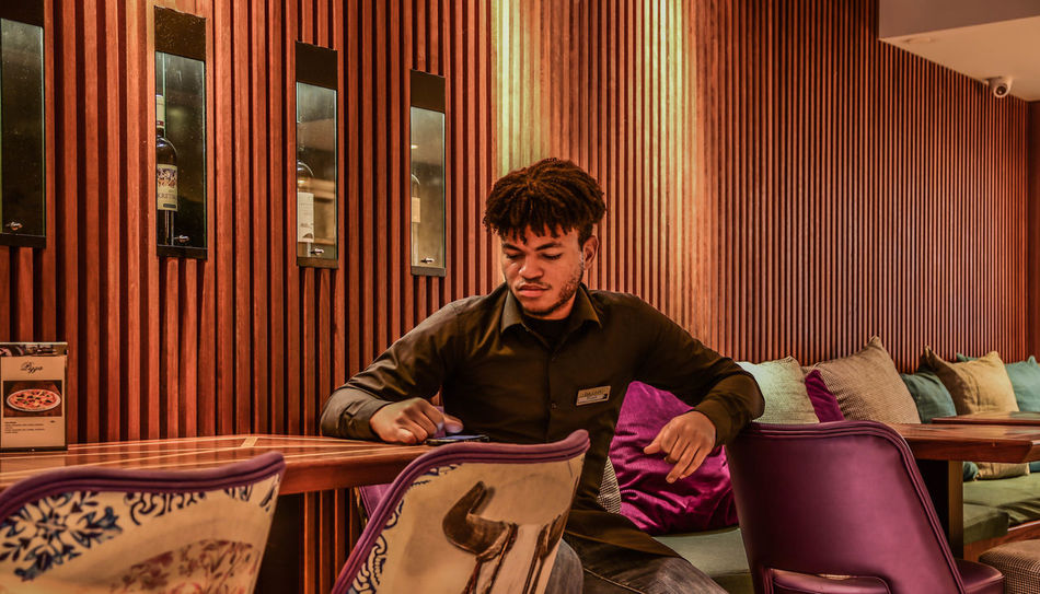 Atwork Cafe Chilling Coffee People Service Taking Photos Waiter Wooden Background