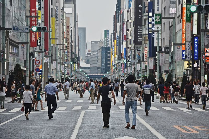 Streets of Tokyo - Ginza is one of the busiest shopping streets in the this summer day, to my luck, vehicles were not allowed on the street for a few shot shows the hustle and bustle of the city. EyeEmNewHere Japan Shopping Streetphotography Tokyo City Street Crowd City Life City Street The Street Photographer - 2018 EyeEm Awards EyeEmNewHere