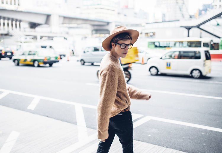 Blogger Car Casual Clothing City City Life Fashion Fashion Week Focus On Foreground Japan Lifestyles Menswear Person Shibuya Standing Street Streetstyle Sweater Tokyo Travel Young Adult
