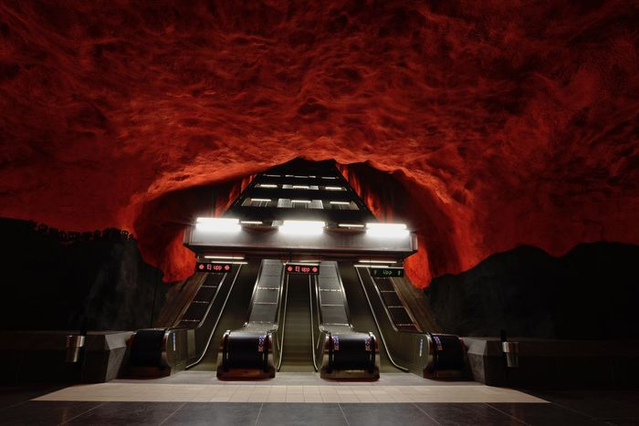 In Stockholm Sweden Escalators Underground Station  Architecture Built Structure Illuminated Indoors  No People Red And Black Colour The Way Forward Transportation