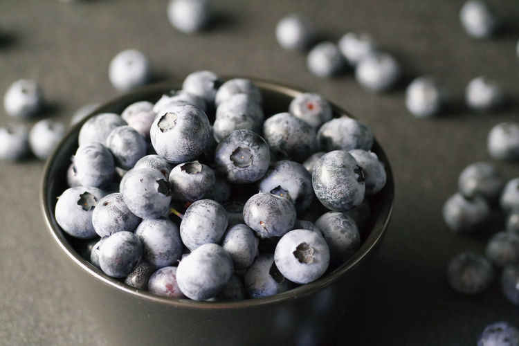 Blueberries in bowl on table