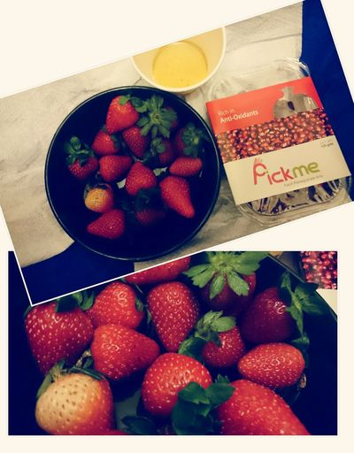 Strawberry Honey Pomegranateseeds Fresh Healthy Eating Dinner