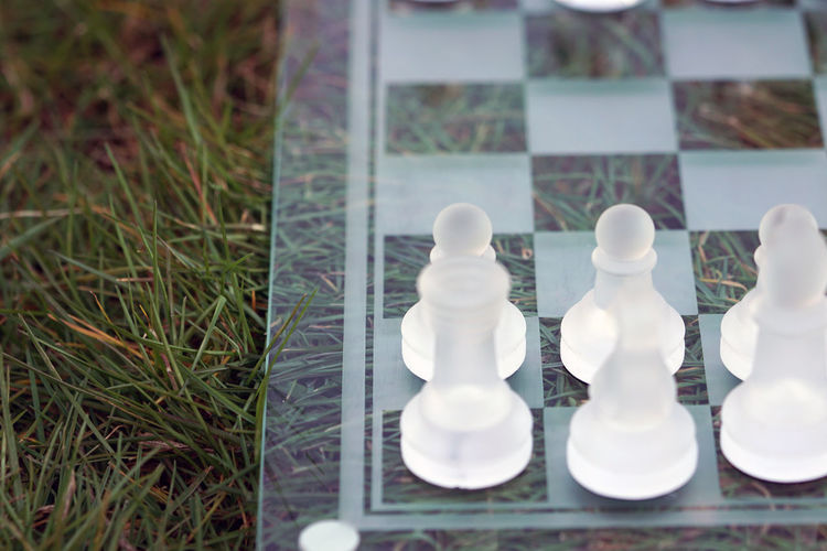 Close-up of chess board on grass