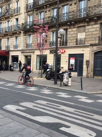 See life in red with No Filter Streetphotography Colorful Spring Flowers Spring Red Biker Road Bycicle Pavement In The Street Paris Road Signs