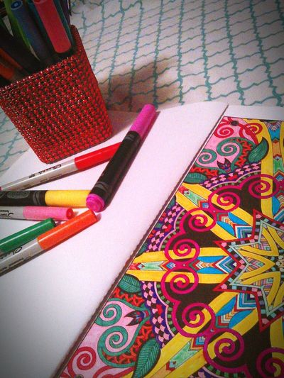 Relaxing Coloring Colorful Color Explosion Adult Coloring Book Markers  Markerart Escaping Enjoying Life Simple Moment Getting In Touch Bymyself Simple Photography Adult Coloring Paint The Town Yellow Coloring Mandalas!  Color Photography
