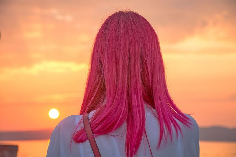Sunset Sky Headshot Real People Hairstyle Orange Color Rear View Portrait One Person Adult Hair Cloud - Sky Leisure Activity Standing Nature Long Hair Women International Women's Day 2019