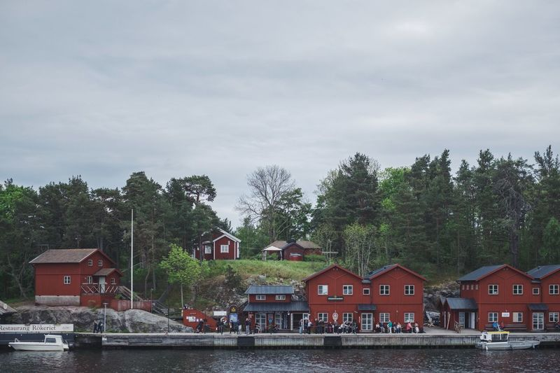 Architecture Building Exterior Built Structure Cloud - Sky Day House Nature No People Outdoors Residential Building Sky Stockholm Archipelago Tree Water