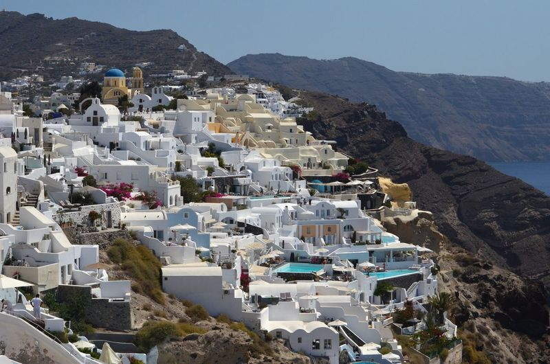 Houses On Mountain At Fira