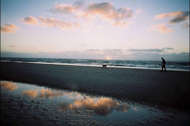 Companionship Companion Dog Beach Sunset Evening Run Evening Sky Dog Walking Running On The Beach Film Photography Filmisnotdead Filmphoto Film People Of The Oceans
