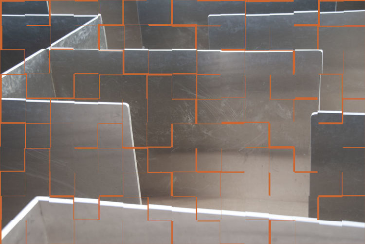 Metal labyrinth with tile pattern Staircase Backgrounds Pattern Full Frame No People Labyrinth Concepts Metallic Metal Engineering Labyrinth