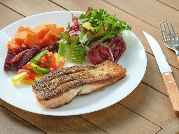 Healthy Crisp Skin Salmon Steak with mixed Colors Salad Plate Table Salad Healthy Eating Food And Drink Ready-to-eat Freshness No People Food Horizontal Close-up Indoors  Day Salmon Salmon Steak  Healthy Food Nutritious