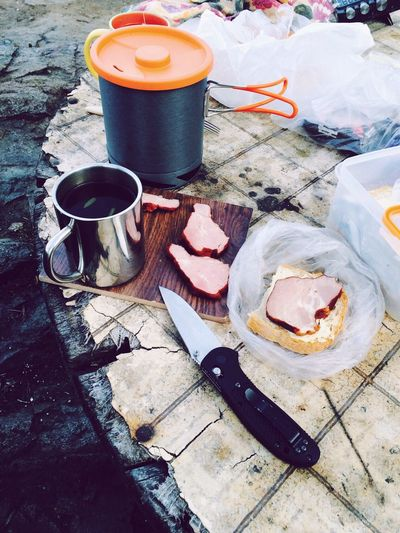 Food And Drink Table No People Outdoors Food Close-up Ready-to-eat Knife Sandwich Ham Tea Metal Cup