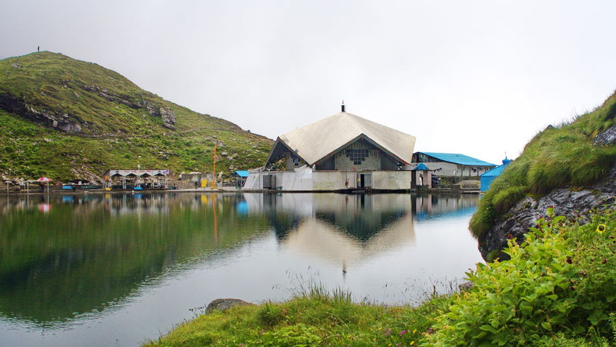 Hemkund Sahib, Architecture Beauty In Nature Building Exterior Built Structure Calm Clear Sky Countryside Day Green Color Hemkund Hemkundsahib Lake Lakeside Nature No People Outdoors Reflection Remote Scenics Sikh Temple Sky Tranquil Scene Tranquility Water Waterfront