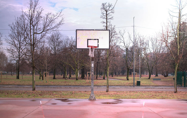 Apocalyptic Basket Basketball Basketball - Sport Basketball Hoop Center City City Park Court Day Hoop Nature No People Outdoors Playground Purple Sky Sport Taking A Shot - Sport Target Tree Playtime Free Time