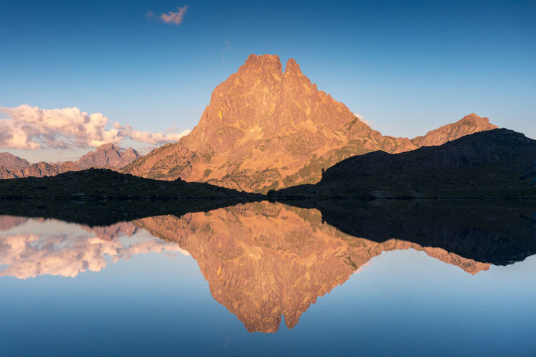 Reflection of mountain range in lake against blue sky