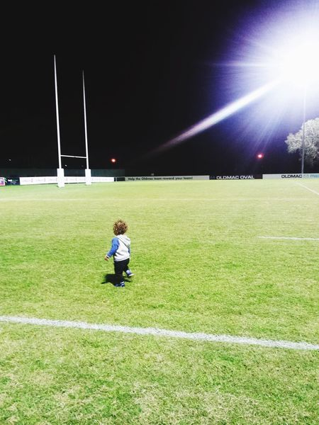 Break The Mold Night Grass Light Beam Child Leisure Activity Outdoors Match - Sport Children Only Playing Field Rugby Rugby Field Son Distance Childhood