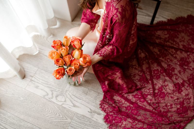 Portrait Of A Woman Lace Red Lace Beauty Romance Roses Flowers Women One Person Indoors  Real People Clothing High Angle View Lifestyles