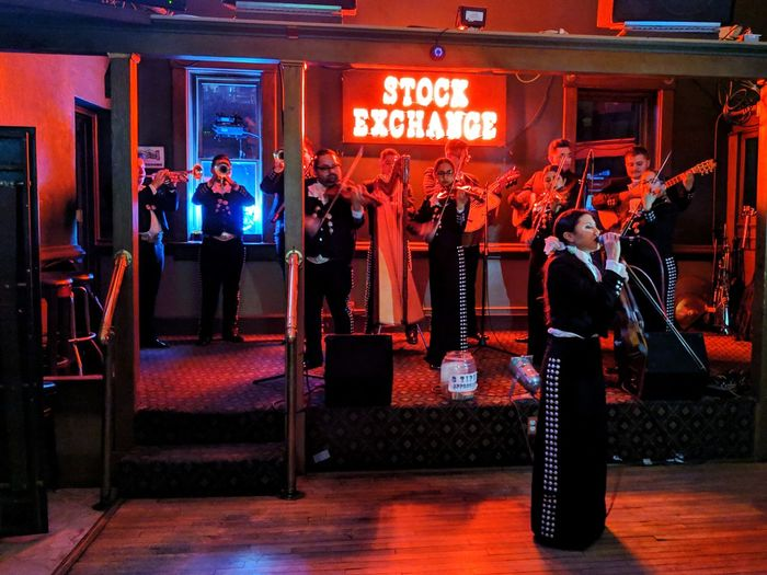 Mariachi band in Bisbee Band Musicians Mariachi Culture Mexican American Nightphotography Girl In Red Strength Evening Singing Nightclub Text Communication