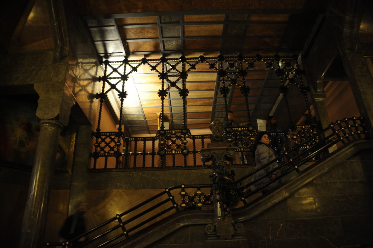 staircase, built structure, architecture, steps and staircases, railing, indoors, steps, real people, day