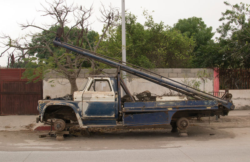 Abandoned Pick-Up Truck On Road