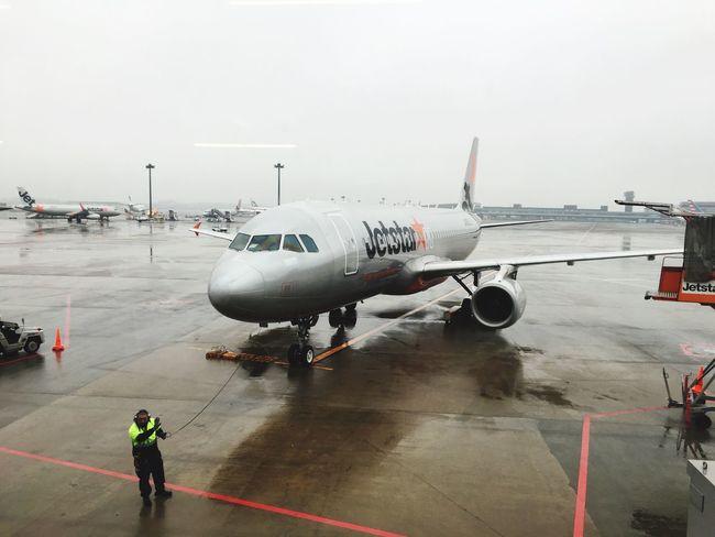 Jetstar airline ...in Narita airport in winter of Japan Airplane Japan