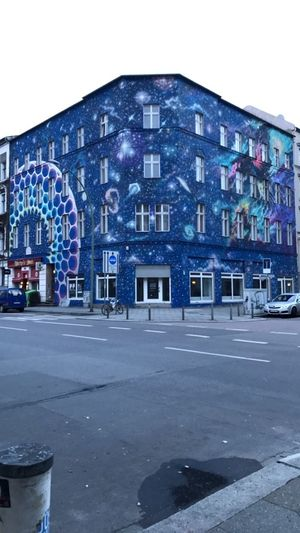 Bulöwstrasse, Berlin Architecture Berlin Blue Building Building Exterior Built Structure City Cityscape Cor Cornerstreet Galaxy Grafitti Illuminated Night No People Outdoors Painting Sky Streetart StreetArtEverywhere Streetphotography Travel