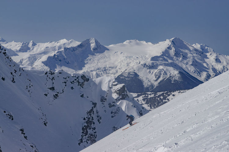Winter Snow Mountain Mountains Ski Skier Skiing Slope Speed Fast Snowcapped Mountain Mountain Range Landscape Activity Sport Steep Blue Sky Athlete Sunny Clear Vista Expanse View Valley Carve