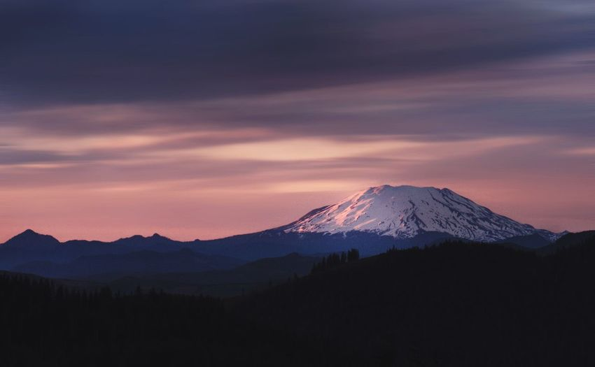 Hiking Hikingadventures Mountain Beauty In Nature Nature Scenics Volcano Tranquility Landscape Tranquil Scene Snowcapped Mountain Sky Sunset Power In Nature Outdoors Snow